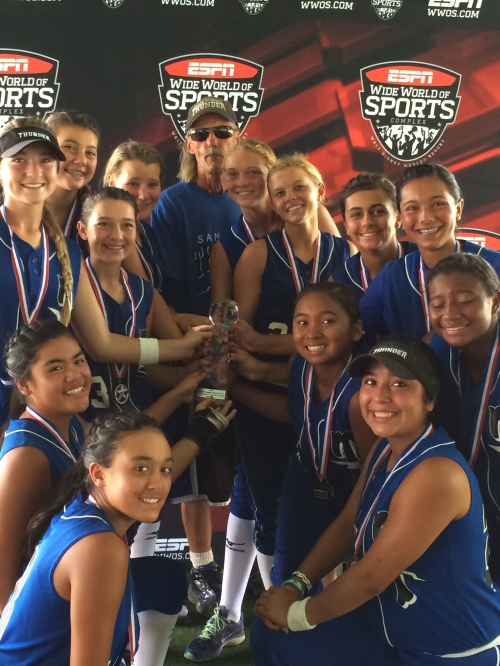 The 2014 14U San Diego Thunder softball team ventured East recently to participate in the USSSA 'Road to Orlando' World Series held in Orlando, Florida, on July 20 through July 26.