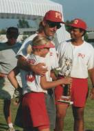 Lisa and Tom Dodd celebrating an All-Star tournament victory for PQ Thunder over PQ Lightning, 1996