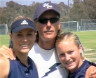 Sara, Lisa, and Tom Dodd celebrating the first ever softball CIF championship for University City High School in San Diego, 2003
